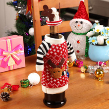 1 Set Cute Sweater Red Wine Bottle Cover Bags Santa Claus Dinner Christmas Table Decoration Clothes