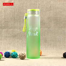 AIWILL 2017 high Borosilicate Glass Water Bottle Tour and outdoor water bottle with rope brief for women/girl Gift Colorfuly