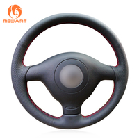 Black Artificial Leather Steering Wheel Cover for Volkswagen VW Golf 4 1998 2004 Passat B5 1996 2005 Polo 1999 2002 Seat Leon
