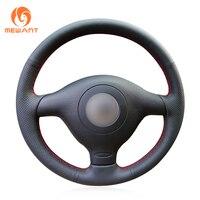 Black Artificial Leather Steering Wheel Cover for Volkswagen VW Golf 4 1998 2004 Passat B5 1996 2005 Polo Seat Leon Skoda Fabia