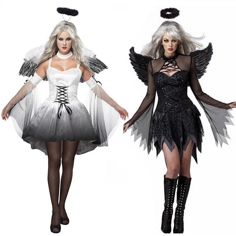 2018 Hot Sale Halloween Costumes For Women Fantasy Cosplay Party Fancy Dress Adult White Black Fallen Angel Costume With Wings
