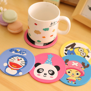 2016 Cute Cartoon Silicone Coasters Doraemon Round Coasters Creative Fashion Anti-scalding Cup Mat Free Shipping A01