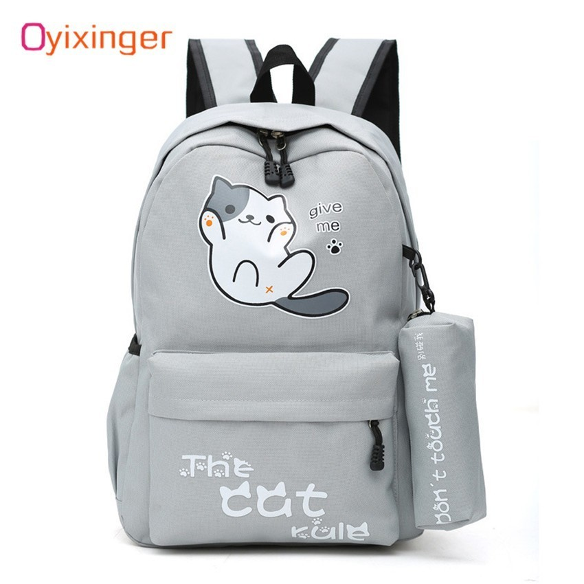 Oyixinger Students Girls School Bag Campus Style Cute Cat Boy Backpack Schoolbag Nylon Backpack Cartoon Bagpack Mochila Feminina