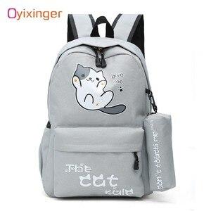 Image 1 - Oyixinger öğrenciler kız çocuk okul çantası kampüs tarzı sevimli kedi çocuk sırt çantası Schoolbag naylon sırt çantası karikatür sırt çantası Mochila Feminina