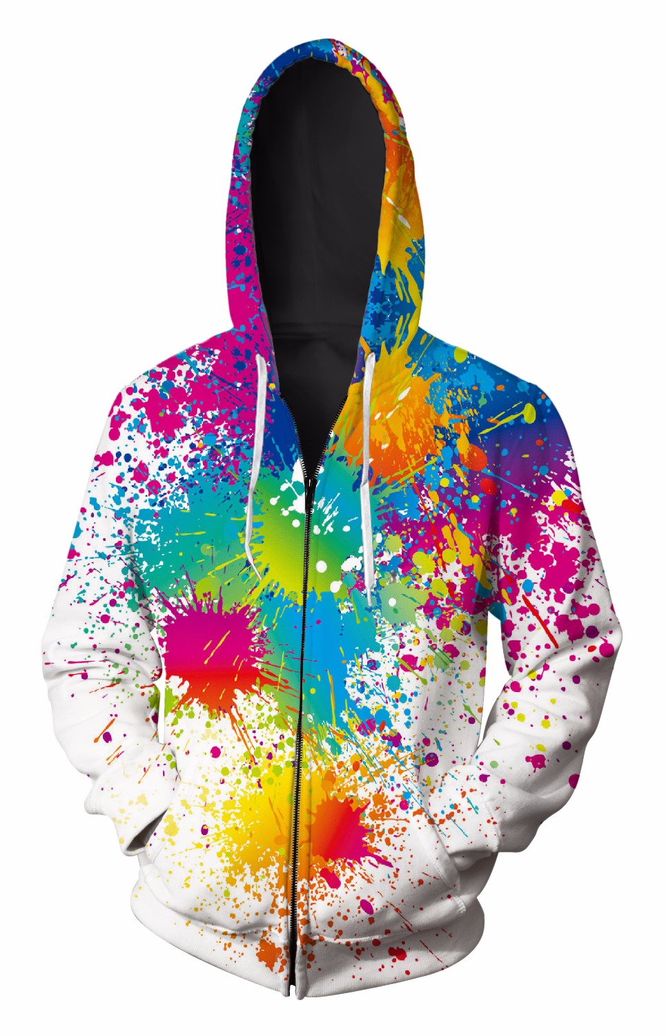 2018 Zip-Up Hoodie 3d Print paint pattern Clothing Women Men Tops Hooded Casual Zipper Sweatshirts Outfits Coats Sweats