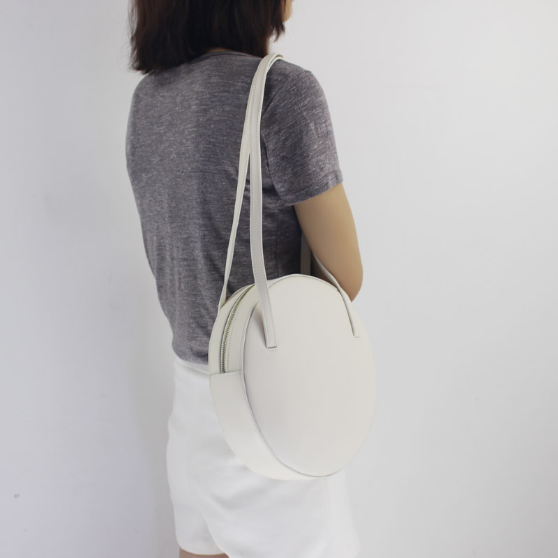 BENVICHED Rodada saco de Gado de couro Genuíno Das Senhoras 2019 de moda de nova pure color bolsa único saco de ombro retro mini saco c392 - 5