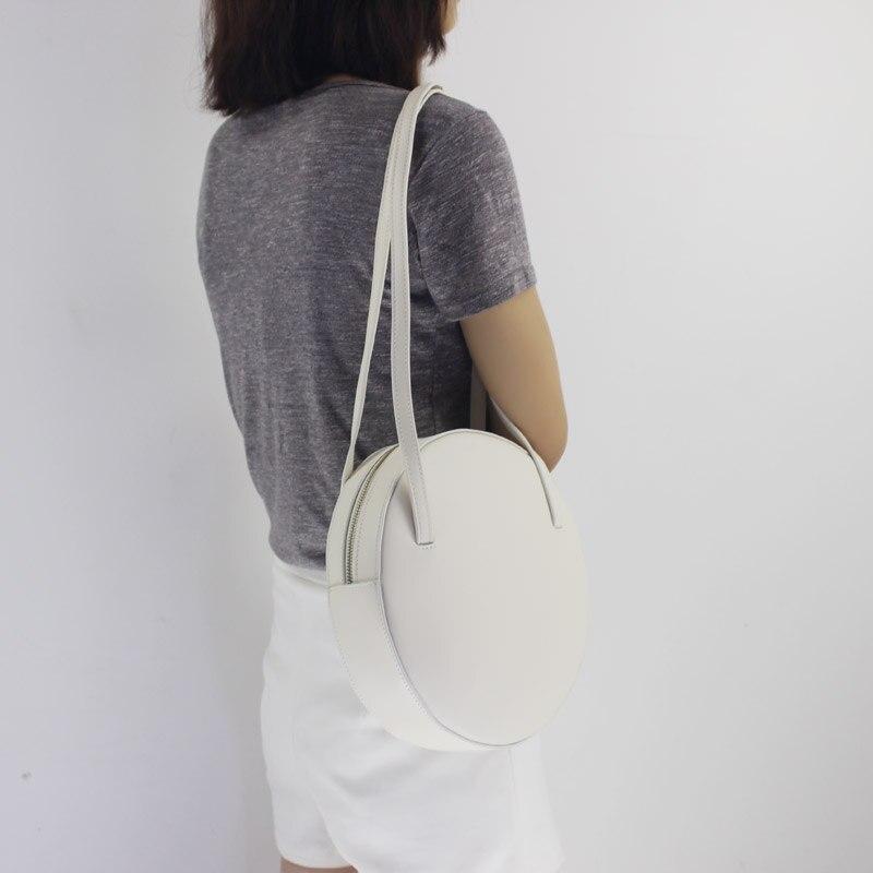 Sac rond en cuir de bovin véritable pour femme 2019 nouveau sac à main de couleur pure mode sac à bandoulière unique sac rétro mini c392 - 5