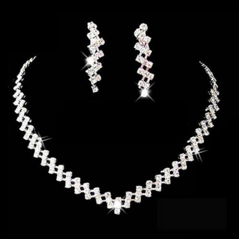 Bescheiden Hochzeit Schmuck Sets Braut Geschenke Kristall Schmuck Halsband Halskette Ohrringe Set Hochzeit Schmuck Für Frauen