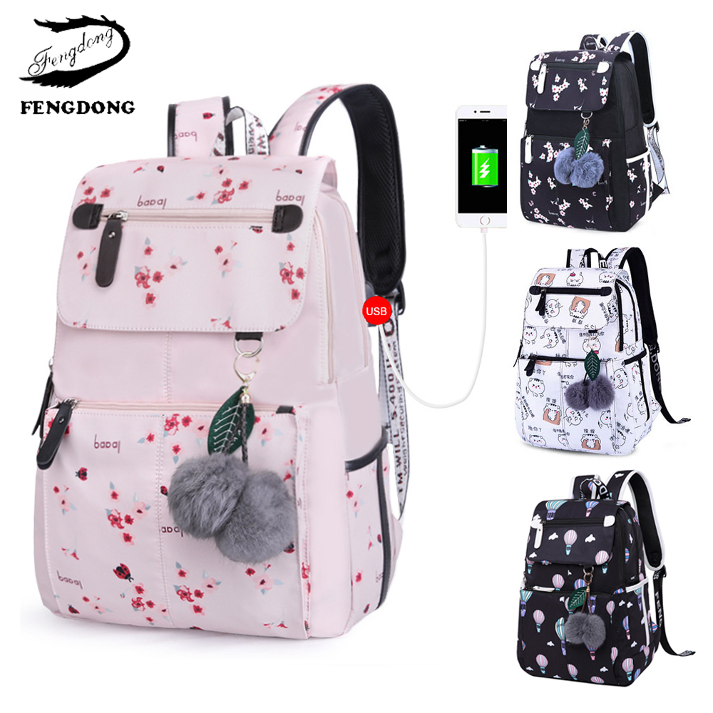 Fengdong Kids Backpack Mochila School-Bag Teenagers Junior Girl Waterproof Student