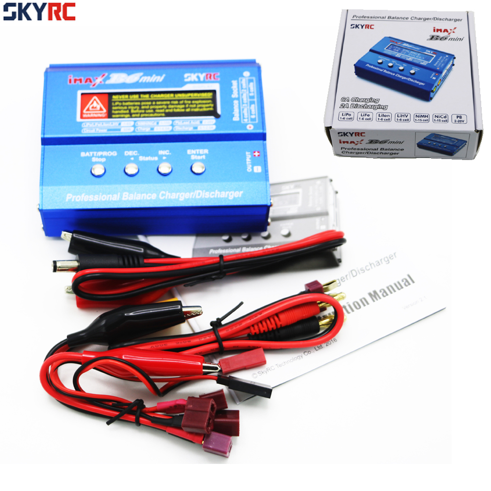Original SKYRC IMAX B6 MINI 60W 5W Max Balance Charger Discharge W/ Connector Charging Cable For RC Helicopter Lipo Battery original ev peak d1 rc lipo battery charging for yuneec typhoon q500 intelligent balance battery charger
