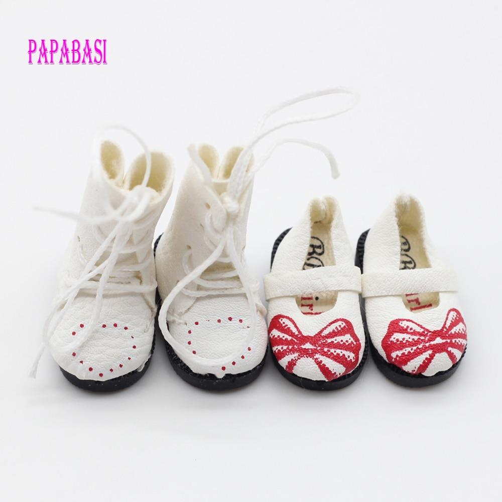 Papabasi 2pair White PU կաշվե տիկնիկ կոշիկ կոշիկներով BJD blyth Doll- ի կոշիկներով 3.2 սմ (հարմար է բլիթի համար, 1/6 տիկնիկ)