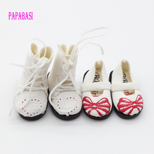 Papabasi 2pair White PU Leather Doll Boots shoes For BJD blyth Doll shoes 3.2cm (suitable for blyth ,1/6 doll )