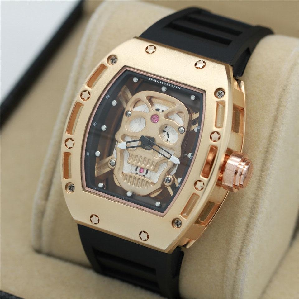 New Luxury Skullhead Tonneau Red diamond Men Women Quartz Antique army Wristwatch human luminous cpatial Men Watch hand Clock