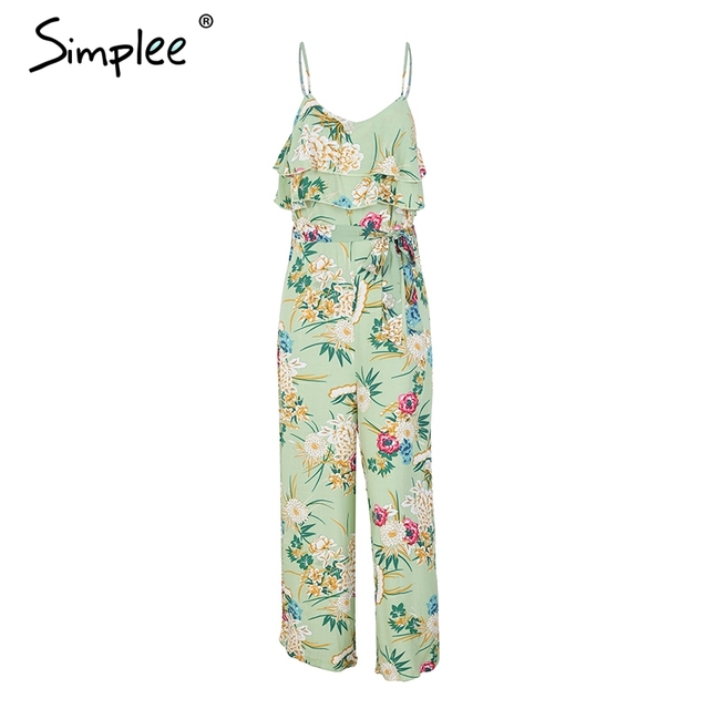 Boho floral print strap tiered ruffle jumpsuit 3