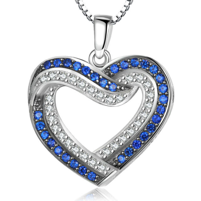New Two Colors Heart Pendant Solid 925 Sterling Silver Necklace Chain Blue and White CZ Romantic Jewelry Gift For Women