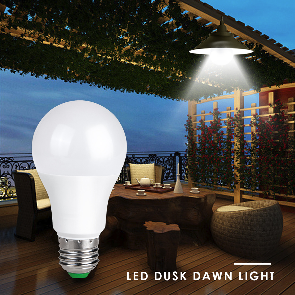 85-265V E27 LED Night Light Ampoule Dusk to Dawn Light Bulb Smart Sensor Lamp 10W 15W B22 Auto ON/OFF Patio Porch Home Lighting цена