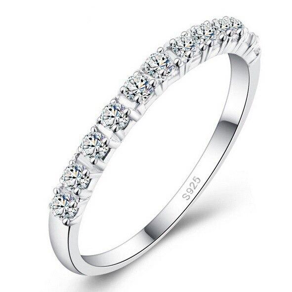 Женские обручальные кольца из циркония S925 разных размеров с круглым покрытием из кубического циркония, новые ювелирные изделия, A2436