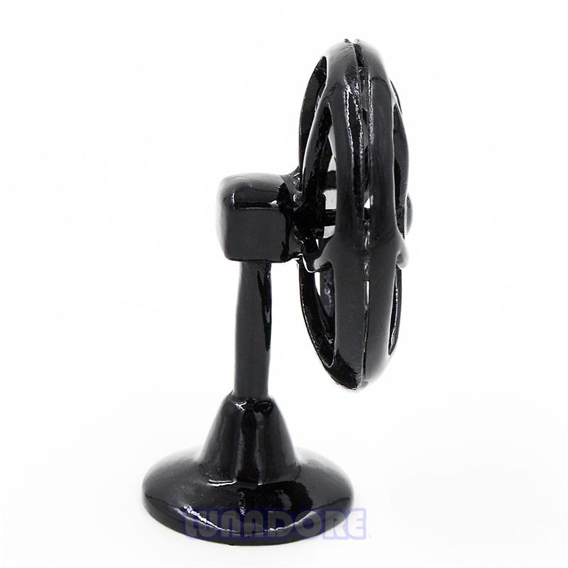1:12 Miniature Metal Black Lobby Fan Old-Fashioned Furniture Accessory Dollhouse