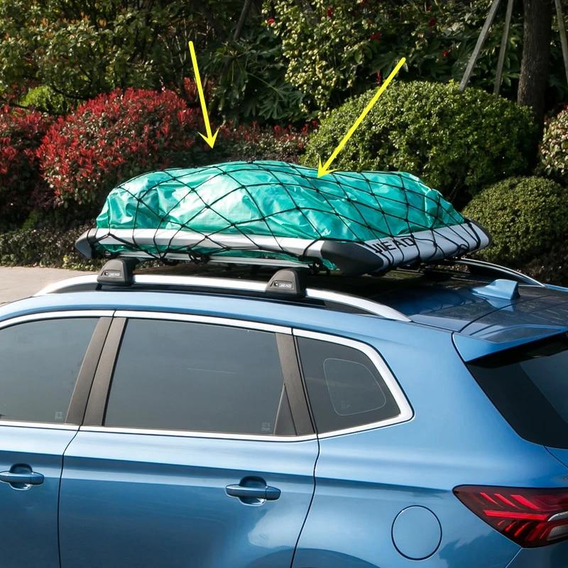 universal car suv truck trailer cargo roof rack basket organizer net roof bag multipurpose elastic mesh luggage rope cover db077