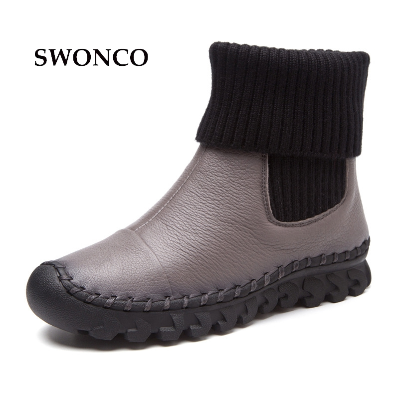 SWONCO Womens Winter Boots Genuine Leather Warm Short Plush Ladies Shoes Women Boots Winter Black Leather Ankle Boot Woman ShoeSWONCO Womens Winter Boots Genuine Leather Warm Short Plush Ladies Shoes Women Boots Winter Black Leather Ankle Boot Woman Shoe