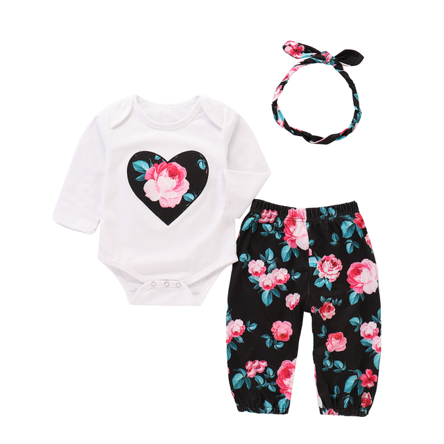 eb165f3aef4b Emmababy 3PCS Outfits Newborn Baby Girls Long Sleeve Romper+Flowers ...