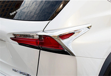 Lapetus Rear Tail Lights Lamp Protection Cover Trim 4 Pcs Fit For LEXUS NX NX200T NX300H 2015 2016 2017 Bright Style Chrome
