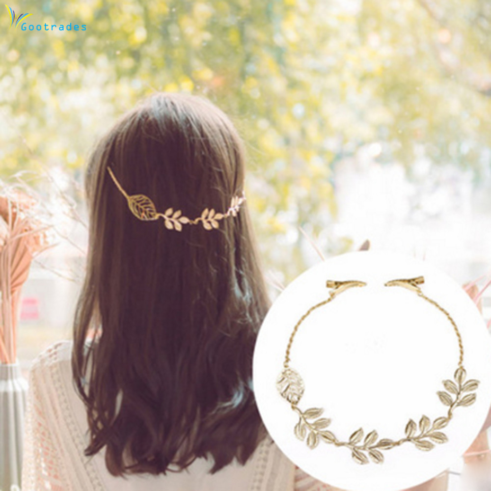 Gootrades 1 Pc Women Lady Fashion Rhinestone Chain Headband Hair Band Leaf Hair Clip Jewelry