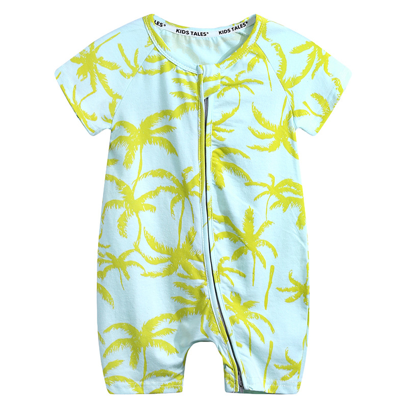 WASAILONG 2018 Summer new - style climbing wear flat - foot haled baby print jumpsuit cotton short - sleeve jumpsuit