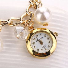 New Style Fashion Watches Women Dress Luxury Pearl Bracelet Wristwatch Electronic Style Women Wristwatch Clock Watch wholesale