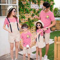 Family Look Mother Daughter Striped Shirts Overalls Family Matching Outfit Father Son Print T-shirts Shorts Sets Family Clothes