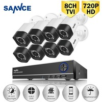 SANNCE 8PCS 1200TVL 720P HD Outdoor CCTV Security Camera System 1080N Home Video Surveillance DVR Kit
