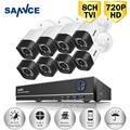 SANNCE 8 PCS 1080N 1200TVL 720 P HD CCTV Ao Ar Livre Sistema de Câmera de Segurança Home Video Surveillance DVR Kit 8CH 1080 P Saída HDMI