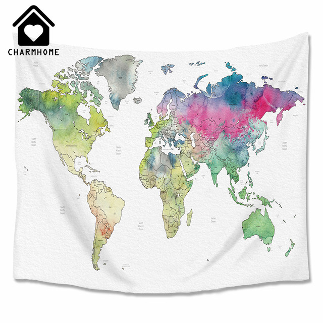 Charmhome watercolor world map printed tapestry wall hanging hippie charmhome watercolor world map printed tapestry wall hanging hippie polyester tapestry beach throw rug blanket beach gumiabroncs Gallery