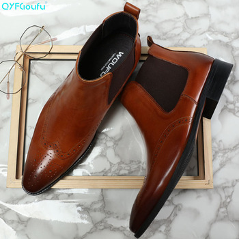QYFCIOUFU Brand Handmade Chelsea Boots 2019 Men's Genuine Leather Ostrich Pattern Vintage Boot Ankle Party Office Dress Boots