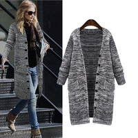 Big Size Cardigan 2016 Spring Autumn Gray Color Casual Knitted Long Sweater Coat L XL XXL