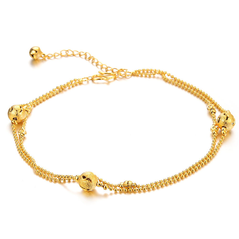 new design 2 Rows gold plated lovely bell Anklet Chain Ankle ...