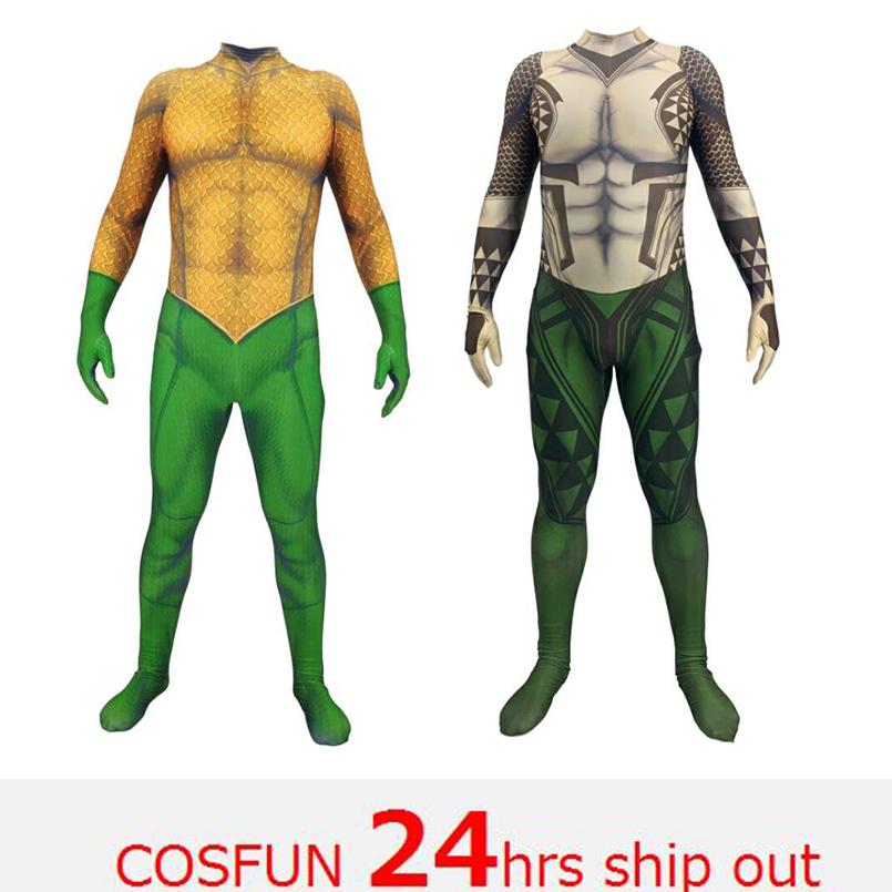 Aquaman Arthur Curry Cosplay Costume Christmas Halloween Costume Cosplay Aquaman Costume Fancy 3D Printing Spandex Jumpsuit