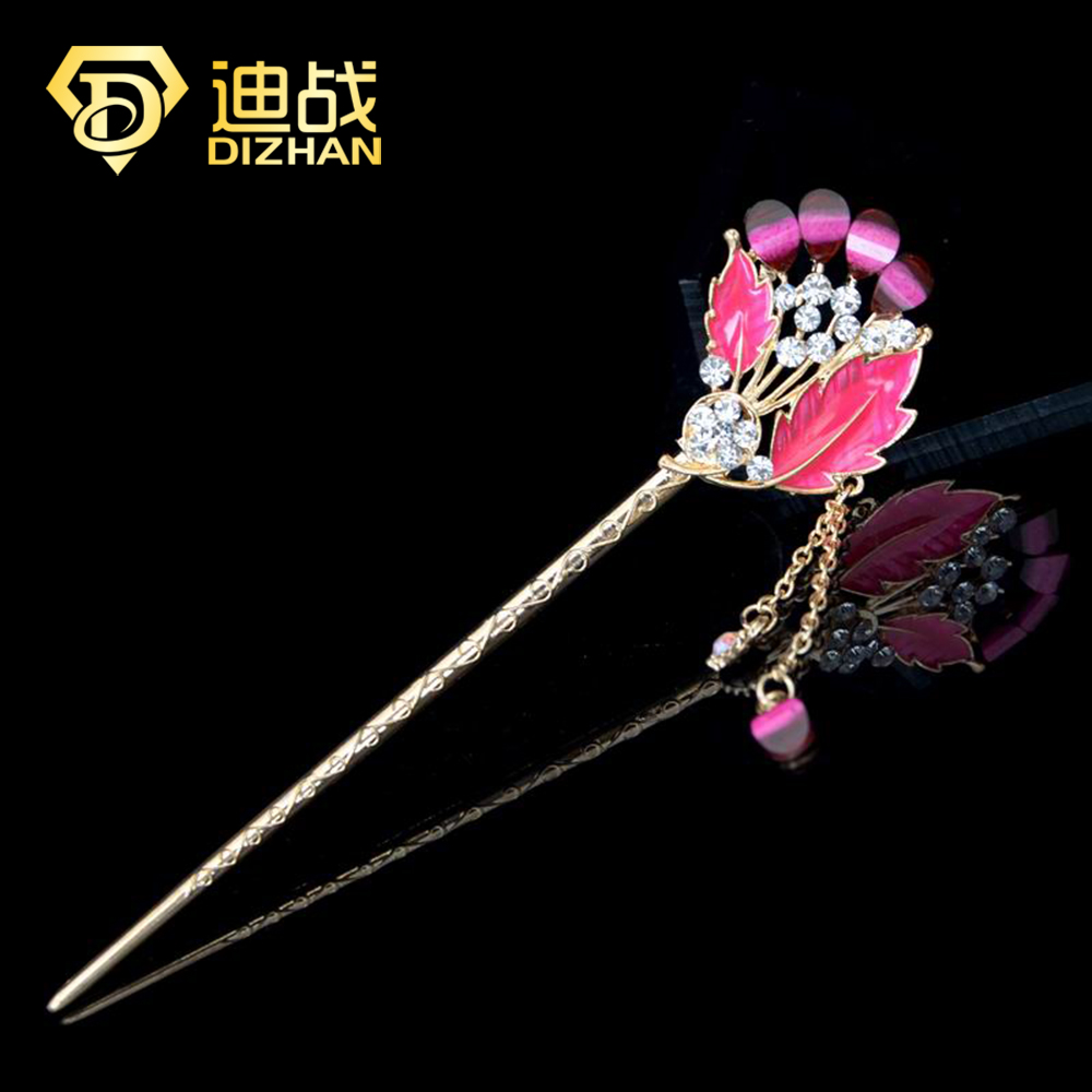 Online get cheap hair flower pin chinese aliexpress alibaba chinese oil enamel flower hair pin classical women headwear maple leaf crystal flower hair stick hair dhlflorist Choice Image