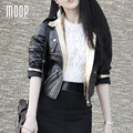 Black genuine leather jackets women 100% Lambskin motorcycle jacket coat gold leather spliced veste en cuir femme LT1021