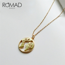 ROMAD 925 Sterling Sliver Pendant Necklace World Map Necklaces Gold Color Simple Link Choker For Women Girl Gift 10