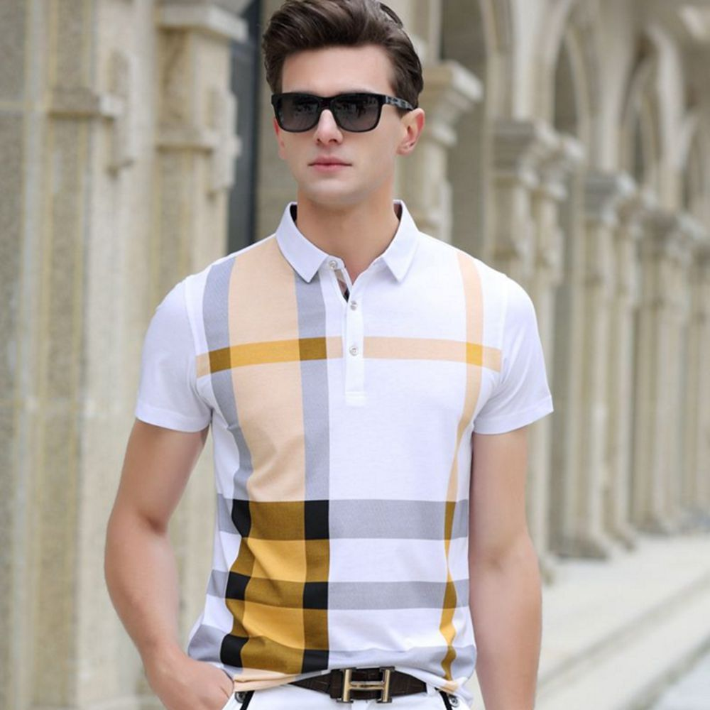 Men's 2017 Summer Stripe New 100% Cotton Plaid Man Business Casual Tee polo Shirt Mens Brands Tops Male