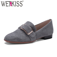 WETKISS Kid Suede Women Flats Buckle Slip On Square Toe Footwear 2018 New Arrival Spring Fashion