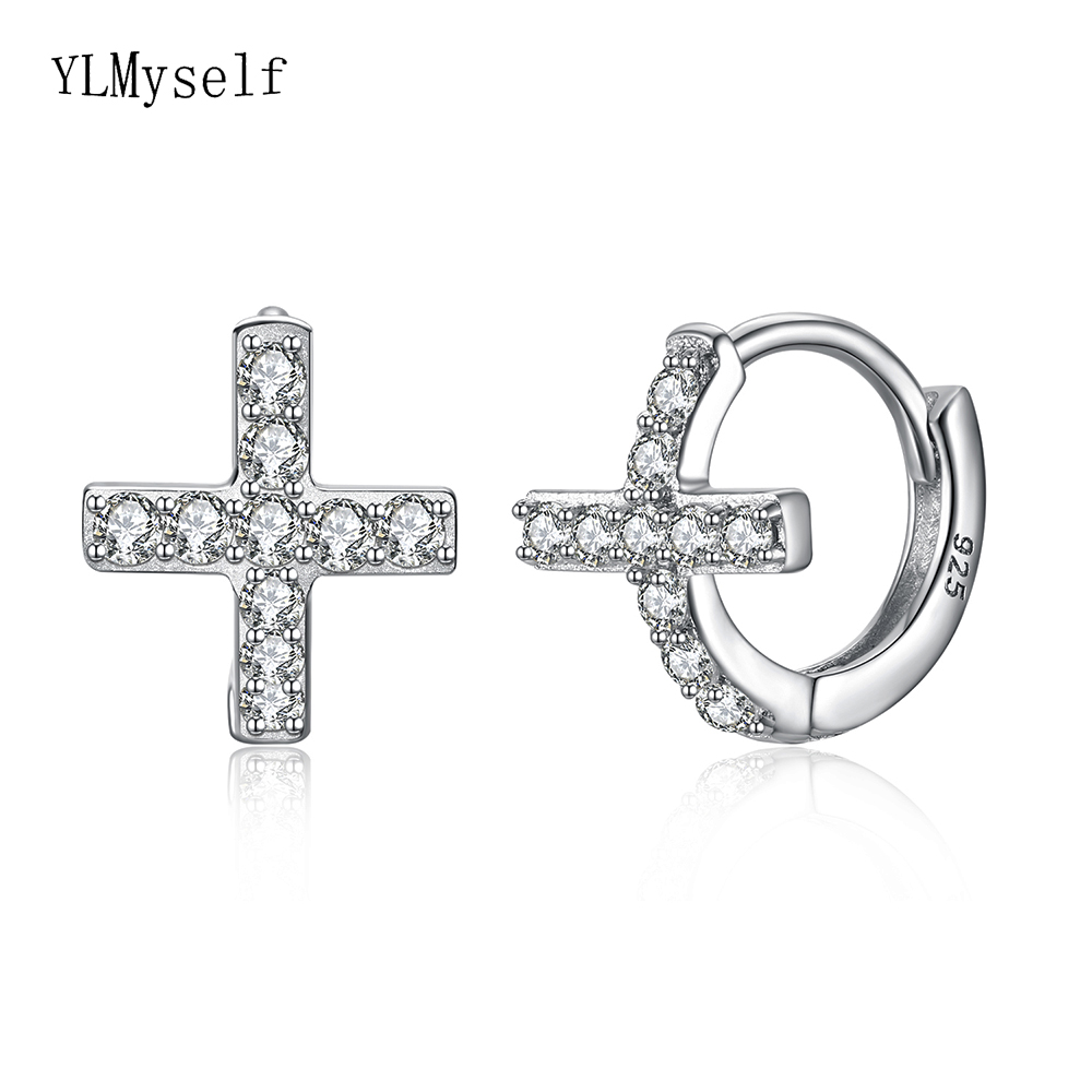 New Small Silver Hoop Earring Micro Pave Cz Christian