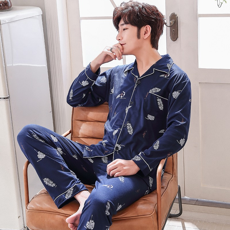 2019 Spring 100% Cotton Pajama Sets For Men Long Sleeve Pyjama Soft Comfortable Sleepwear Print Homewear Loungewear Home Clothes