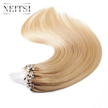 Neitsi Straight Indian Loop Micro Ring Hair 100% Human Micro Bead Links Remy Hair Extensions 16″ 20″ 24″ 1g/s 50g 20 Colors