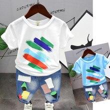 купить 2 Colors Children Summer Clothing Set Baby Boy Cotton Paint Points Short Sleeve T-shirt + Denim Pants Kid Boy Casual Sportwear по цене 642.84 рублей