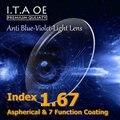 1.67 Índice de Lente Anti Luz Azul Violeta Óculos de Prescrição Óptica Para O Revestimento de Escritório Trabalhador Computador Eyewear Com 7 Função