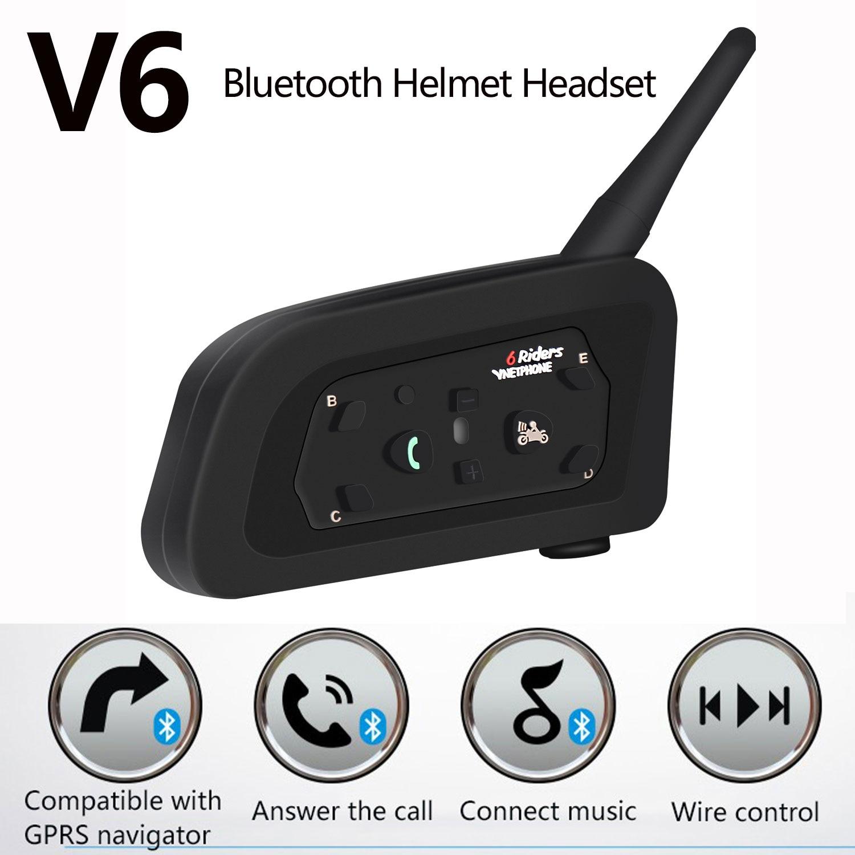 V6 Bluetooth Helmet Headset GPS Navigator Phone Caller Team Speaker Noise Reduction Music Player Ride Communicator For 6 Riders