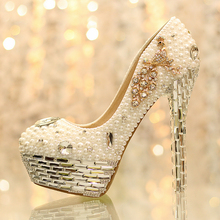 Popular Ivory Round Toe Imitation Pearl Formal Shoes Crystal Tassels Bride Wedding Shoes Lady's Shoes Platform Dress Shoes