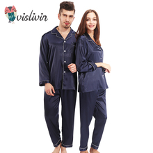 Vislivin пижамы Для женщин халат шелковые пижамы Наборы для ухода за кожей длинный рукав пижамы 2 шт. шелк Домашняя одежда Для мужчин отложной воротник пара Pijama